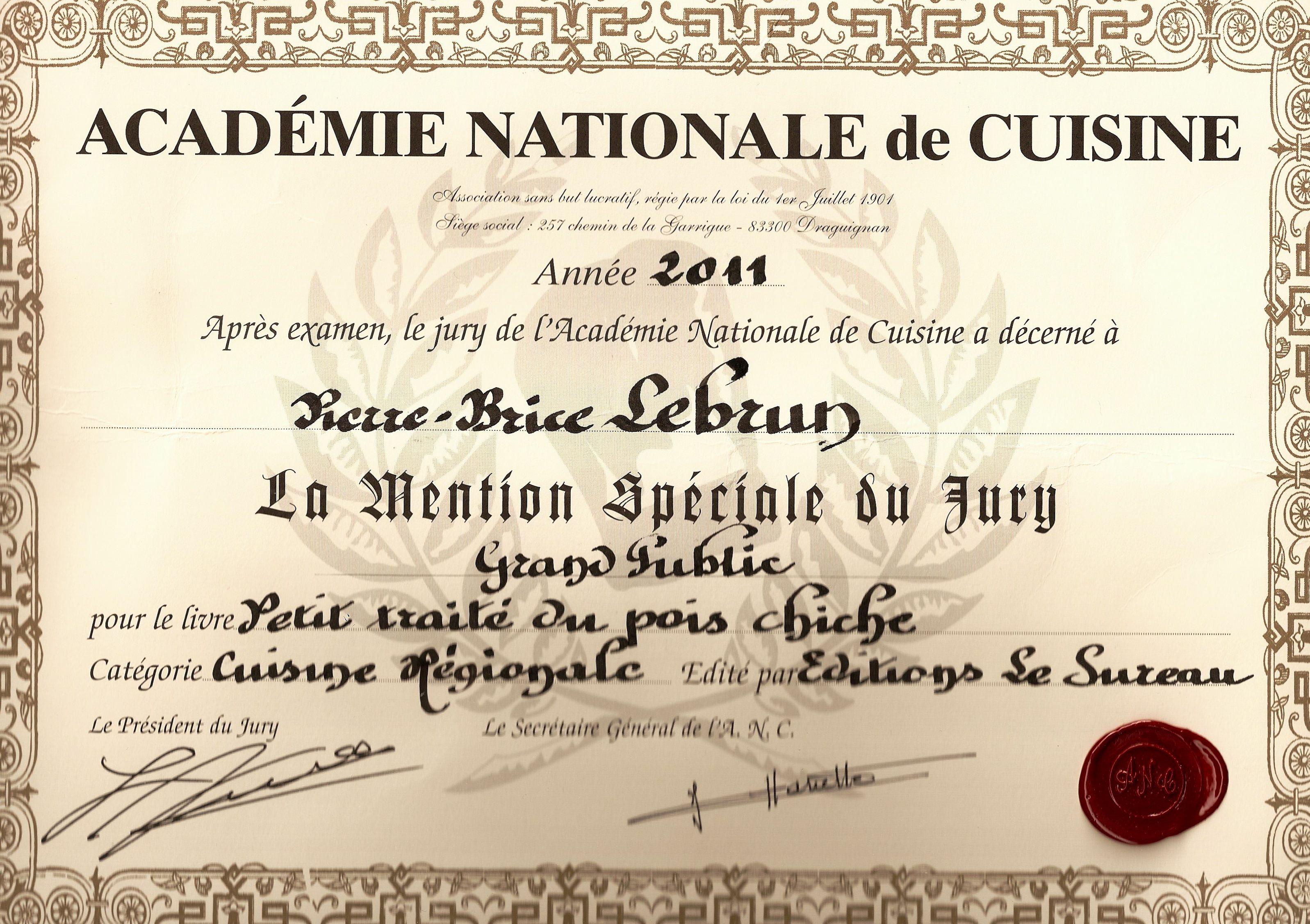 Bouquins le blog de pierre brice lebrun for Academie nationale de cuisine
